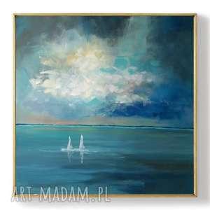 morze-obraz akrylowy formatu 80/80 cm, obraz, płótno, łodzie, akryl, morze