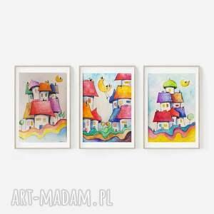 trzy akwarele-miasteczka-formatu 12,5/18 cm, akwarela, koty, domki, miasteczko