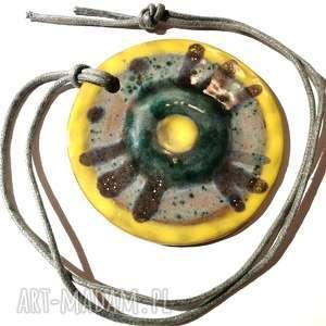 naszyjnik wisior ceramiczny szkliwiony handmade, naszyjnik, ceramika, koło, etno