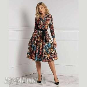 sukienki sukienka sabina midi julita, szmizjerka, z kołnierzem, jesień