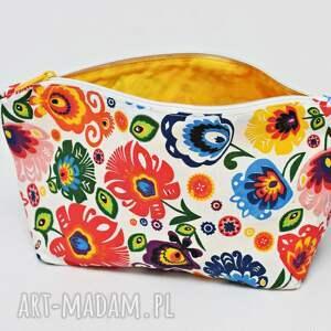ręcznie zrobione kosmetyczki kosmetyczka folk łowicki bawełniana saszetka do torebki