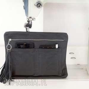 ręcznie zrobione teczki skórzany organizer kolor czarny