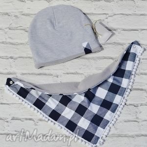 zimowa czapka i apaszka kratka - bawełna, komin, polar, zima