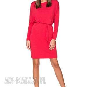 sukienki wiązana sukienka z delikatnej dzianiny, t208, czerwony, sukienka, luźna