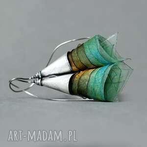 srebrne kolczyki baśniowe miętowe toffi, zielone dzwonki