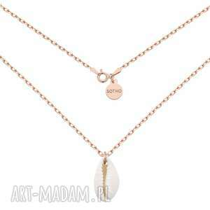 naszyjniki masywny łańcuszek z muszelką różowego złota, naszyjnik, srebro