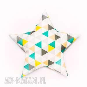 ręcznie wykonane pokoik dziecka poduszka gwiazdka - trójkąty zielone