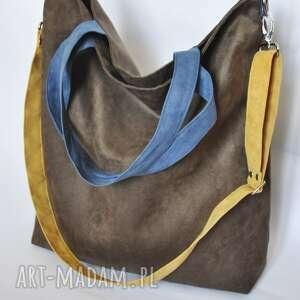 torba hobo xxl - brąz, niebieski, żółty pracownia 166, hobo, worek, wegańska