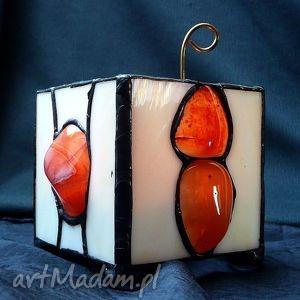 karneol podświetlony lampion-świecznik prezent, efektowny, nastrojowy