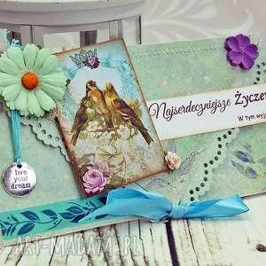 uniwersalna kartka kopertówka- ptasie trele - urodziny, imieniny, prezent, ptaki