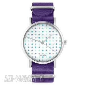 zegarki zegarek - blue stars fioletowy, nylonowy, zegarek, nylonowy pasek, typ