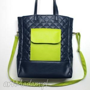 Prezent Shopper Bag pikowany - granat i zielony, pikowana, elegancka, nowoczesna