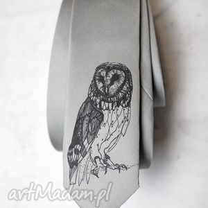 hand-made krawaty krawat z nadrukiem - sowa