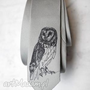 krawat z nadrukiem - sowa, krawat, śledź, nadruk, prezent