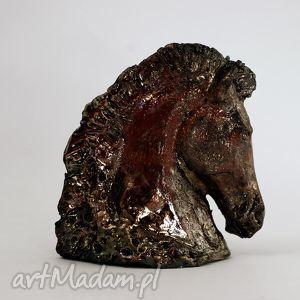 azulhorse głowa konia w raku - figurka ceramiczna, raku, figurka, rzeźba
