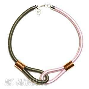 grey pink - nowoczesny, dwukolorowy, naszyjnik, owijany, modny, unikatowy