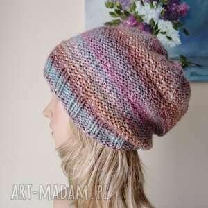 czapki metamorfoza czapka, czapka na drutach, rękodzieło, bezszwowa
