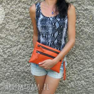 orange kopertówka, handmade, autorska, zamki, kolorowa kopertówki torebki
