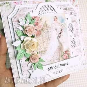 Kartka w pudełku dniu ślubu scrapbooking kartki zlesnejchatki