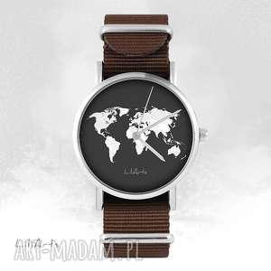 zegarki zegarek - mapa świata brązowy, nato, zegarek, bransoletka