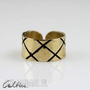 caltha skosy - mosiężny pierścionek 130620-12, pierścionek, pierścień