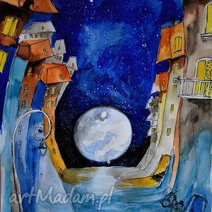 Akwarela i piórko Pełnia w mieście artystki plastyka Adriany Laube, miasto, księżyc