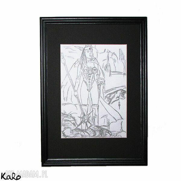 ręcznie wykonane obrazy rysunek wojowniczka jak gwiazda poranna ;)