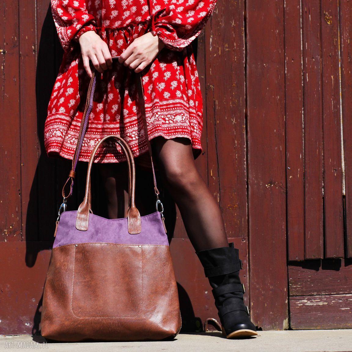 hand-made na ramię fiella - duża torba - zgaszony fiolet