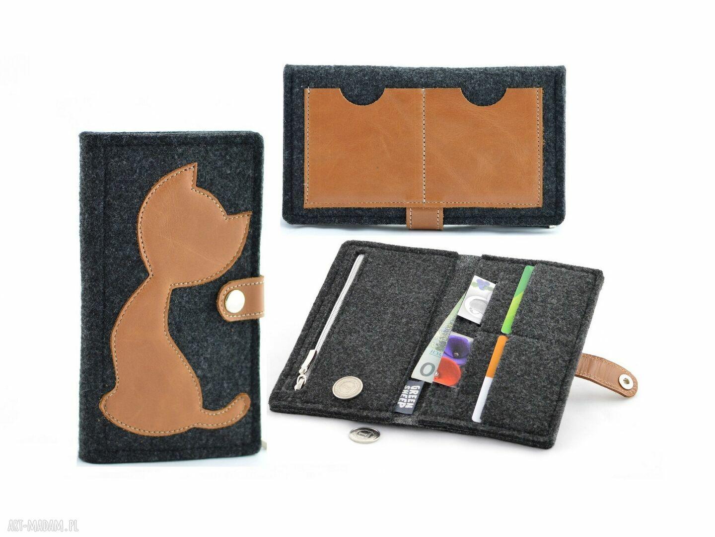 ręczne wykonanie portfele portfel filcowy ze skórzanym kotem - midi- grafitowy z rudym