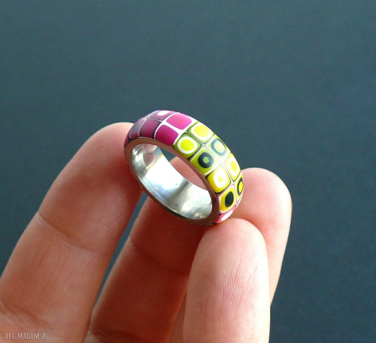 hand-made obrączki stalowa obrączka z polymer clay