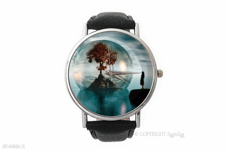 hand-made zegarki drzewo życia - skórzany zegarek z dużą tarczą