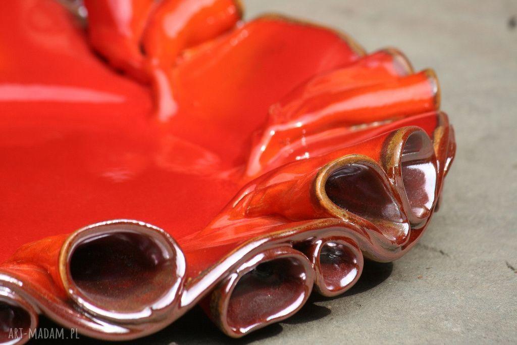 ręcznie robione ceramika szkliwione patery twist czerwono-złote