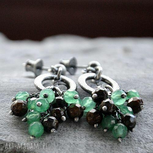 bronzyt kolczyki zielone i awenturyn- oryginalne