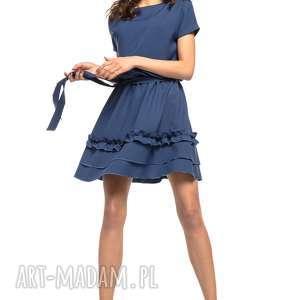 Sukienka z ozdobną falbanką na spódnicy, T267, granatowy, elegancka, sukienka