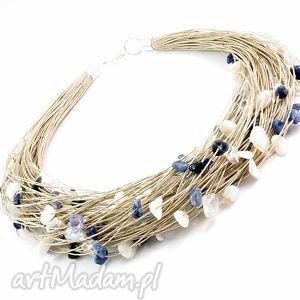 naszyjnik lniany - jeanse - naszyjnik, sodalit, masa, perłowa, opal, len