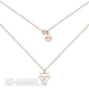 ręcznie zrobione naszyjniki naszyjnik z różowego złota z podwójnymi trójkątami
