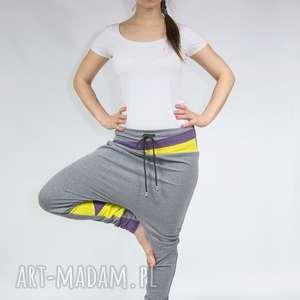 Spodnie damskie baggy - dres (żółte trójkąty), dresowe, bawełniane, sportowe, yoga