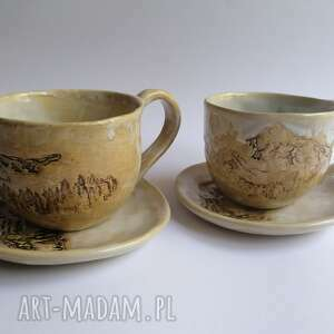 komplet górskich filiżanek, ceramika rękodzieło, filiżanki z gliny, ręcznie