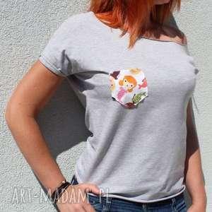 handmade bluzki asymetryczny t-shirt blzuka dresowa z kieszonką