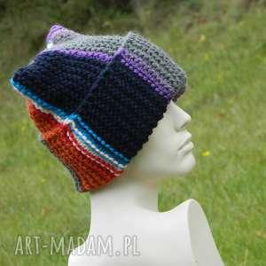 ręcznie zrobione czapki czapa rogata alpaca wywijana