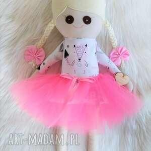 fabryqaprzytulanek szmacianka, szmaciana lalka w różowe zwierzątka, szmacianka