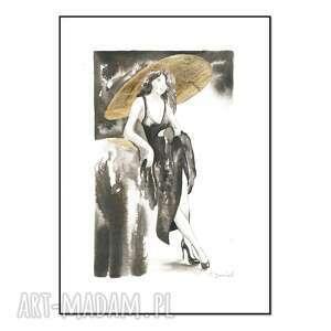 cykl kobiety i kapelusze - kapelusz iv, ręcznie malowane, grafika, oryginał
