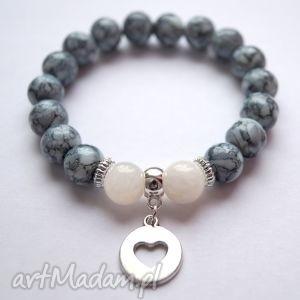 bransoletki bransoleta grey stones,marble heart, marmur, kamienie, zawieszka, serce