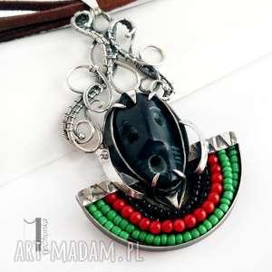 szaman srebrny naszyjnik z kamienną maską - czarne, wirewrapping