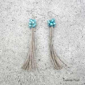 błękitne perełki - długie kolczyki, boho, długie, kobiece, lekkie, naturalne