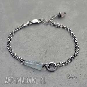 ręcznie wykonane delikatna srebrna bransoletka z akwamarynem