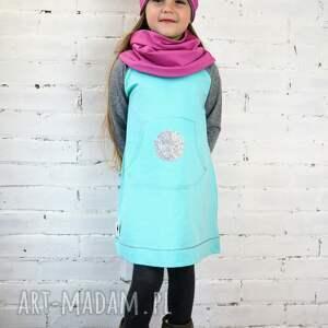 Prezent Sukienka MIĘTA, sukienka, mięta, prezent, zima, cekiny, dziewczynka