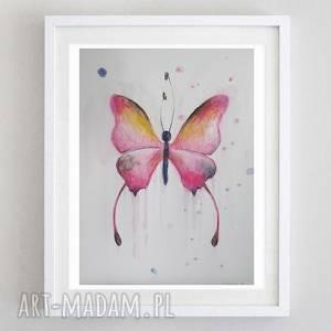 różowy motyl -akwarela formatu a5, motyl, papier, farba, akwarela, kredki
