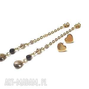 alloys collection heart -vol 2 /03-07-19/, stal szlachetna, pozłacane, onyks
