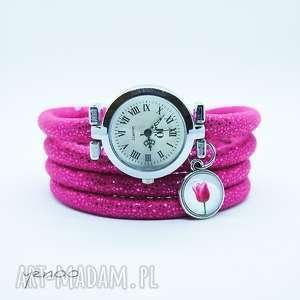 ręcznie robione zegarki zegarek, bransoletka - tulipan - owijany, amarantowy